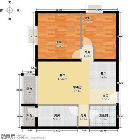 优品国际公寓2室1厅1卫1厨93.00㎡户型图