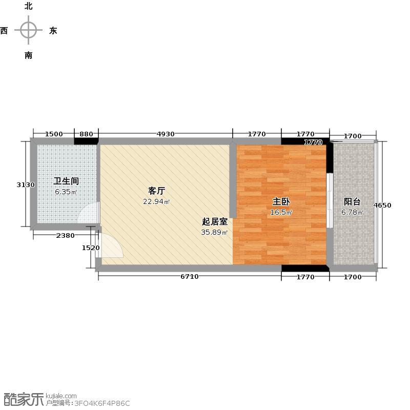 西华苑二期55.09㎡F栋二至四层05单元户型1卫