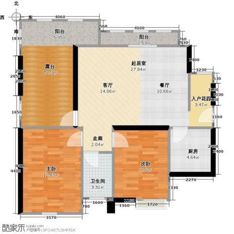 中信观澜凯旋城2室0厅1卫1厨90.00㎡户型图