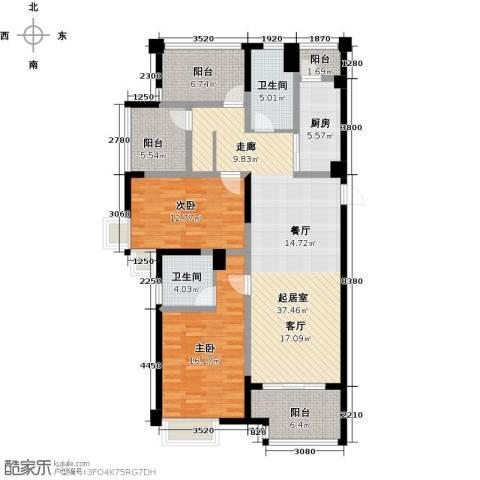 启迪方洲2室0厅2卫1厨119.00㎡户型图