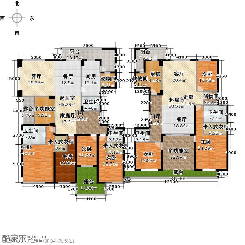朗郡254.62㎡君澜阁4幢-奇数层A2、B2户型10室