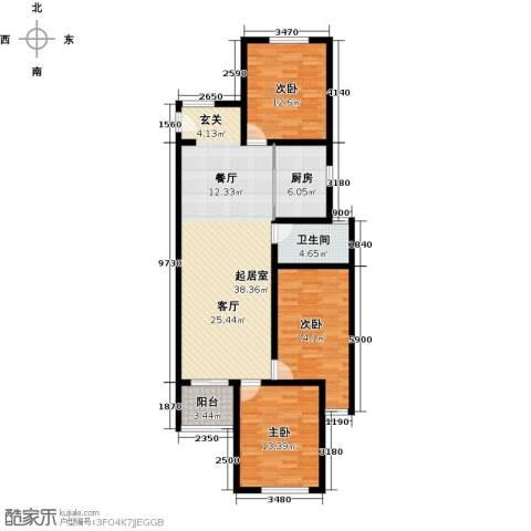 京东紫晶3室0厅1卫1厨105.00㎡户型图