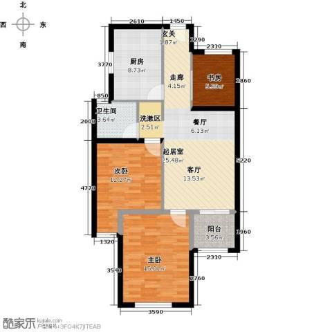 京东紫晶3室0厅1卫1厨80.00㎡户型图