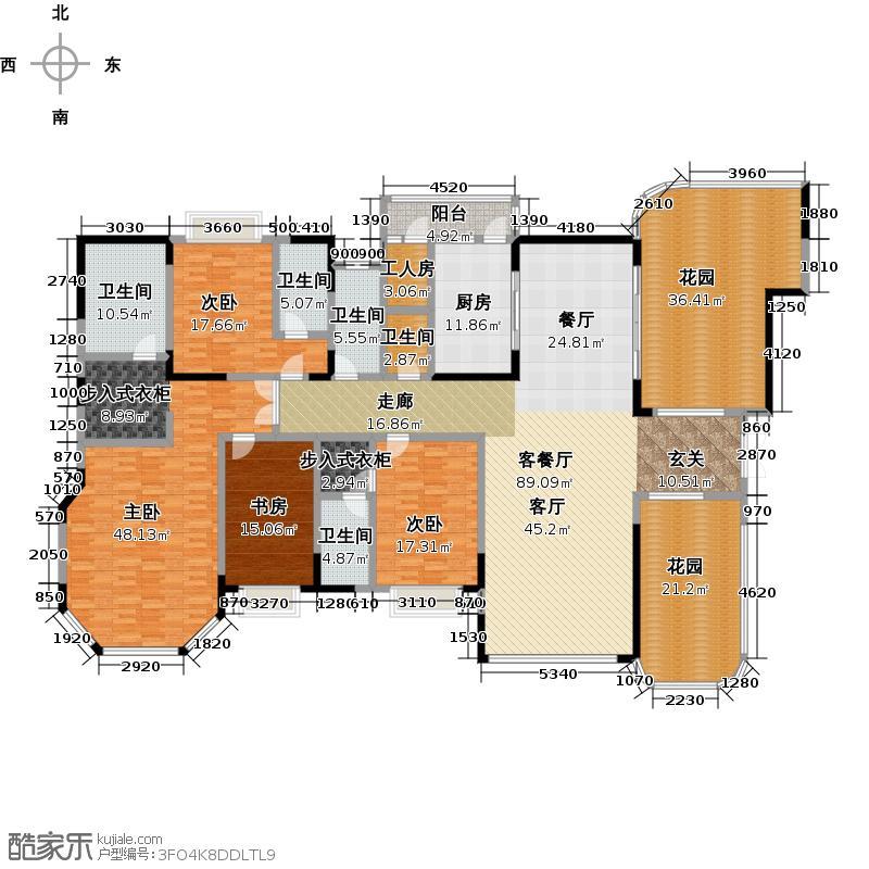 恒大华府一期331.63㎡带独立工人房、储藏室户型4室1厅5卫1厨
