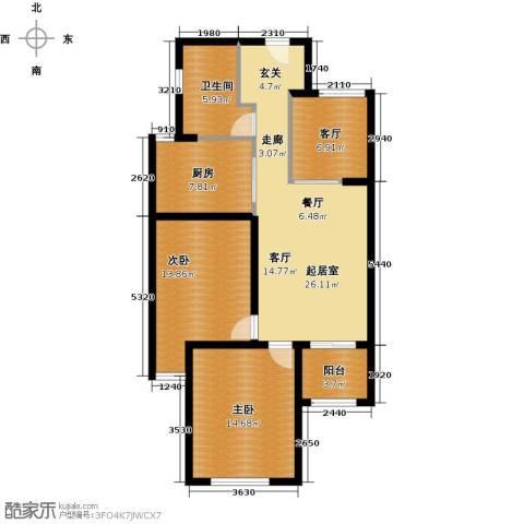 京东紫晶2室1厅1卫1厨90.00㎡户型图