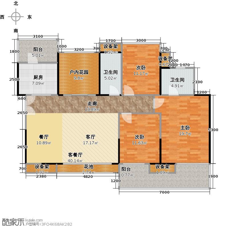 鸿威海怡湾142.66㎡B-偶数层户型3室1厅2卫1厨