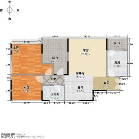 协信阿卡迪亚君临天下2室1厅1卫1厨111.00㎡户型图