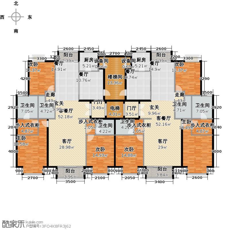 润泽悦溪176.00㎡J标准层户型6室4厅6卫2厨