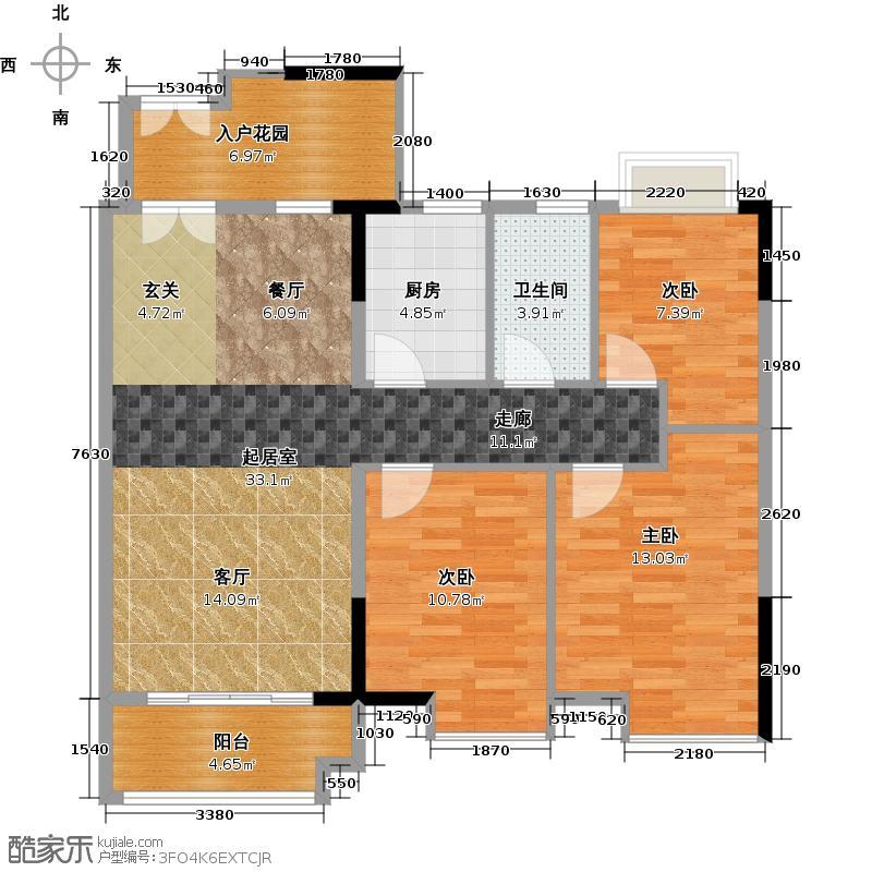 城央御景尚品94.96㎡1、8栋01单元户型3室1卫1厨