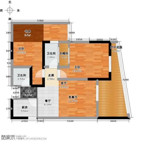 东朝香堤花径2室1厅2卫1厨106.00㎡户型图