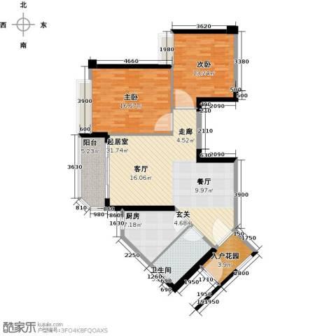 恒大海上夏威夷2室0厅1卫1厨83.24㎡户型图