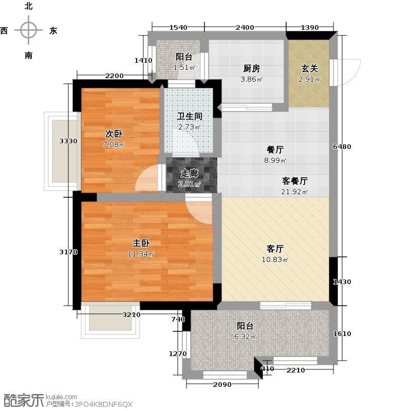 伟清泊客62.42㎡一期1号楼标准层8号房户型2室1厅1卫1厨