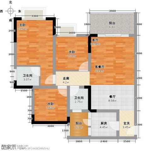 东朝香堤花径3室1厅2卫1厨85.00㎡户型图