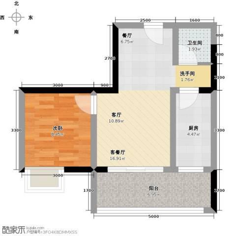 东朝香堤花径1室1厅1卫1厨41.00㎡户型图