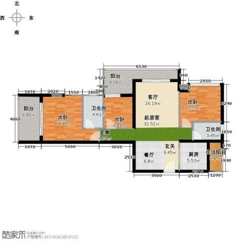 金色家园3室0厅2卫1厨108.00㎡户型图
