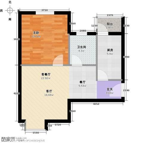 DBC加州小镇1室1厅1卫1厨68.00㎡户型图