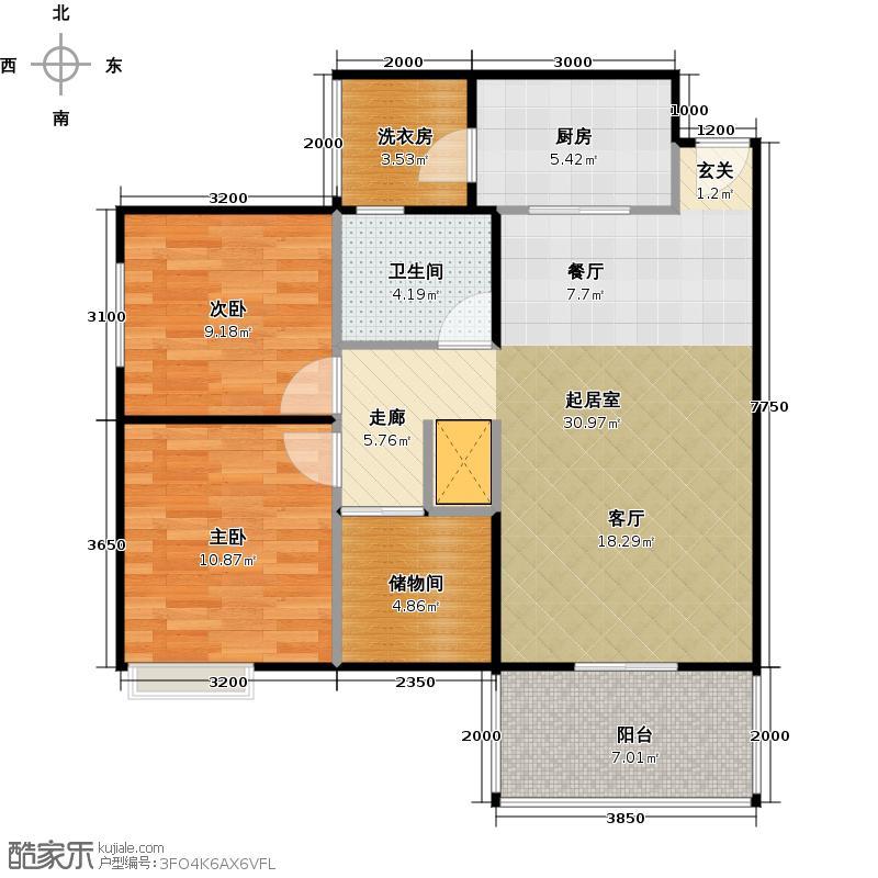 宏诚海峰花园86.26㎡5栋03单位户型2室1卫1厨