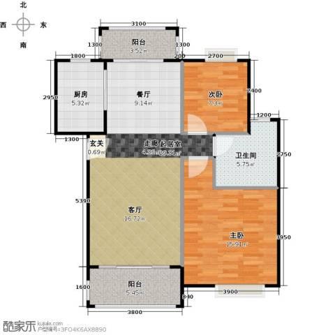华标荔苑2室0厅1卫1厨84.00㎡户型图
