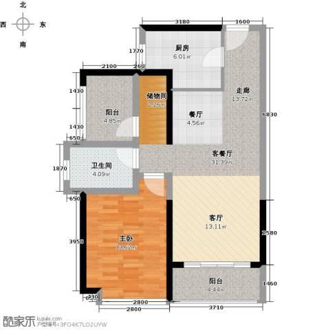 坪山招商花园城1室1厅1卫1厨76.00㎡户型图