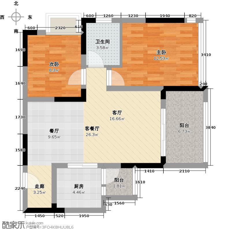 橙堡73.97㎡户型2室1厅1卫1厨