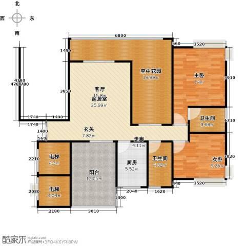 新世纪星城海涛居2室0厅2卫1厨139.00㎡户型图