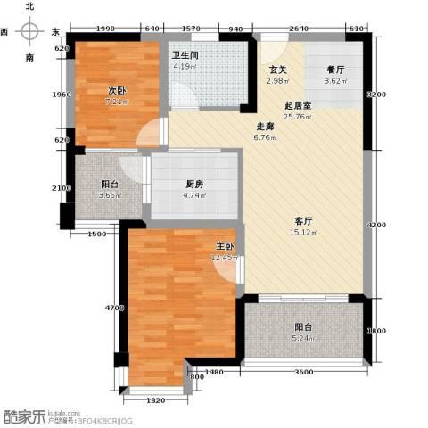 碧桂园凤凰城2室0厅1卫1厨87.00㎡户型图