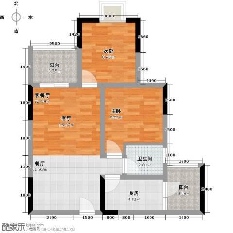 东朝香堤花径2室1厅1卫1厨57.00㎡户型图