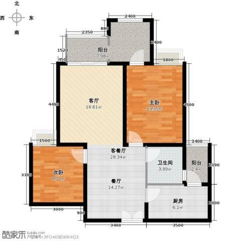 约克郡汀兰2室1厅1卫1厨90.00㎡户型图