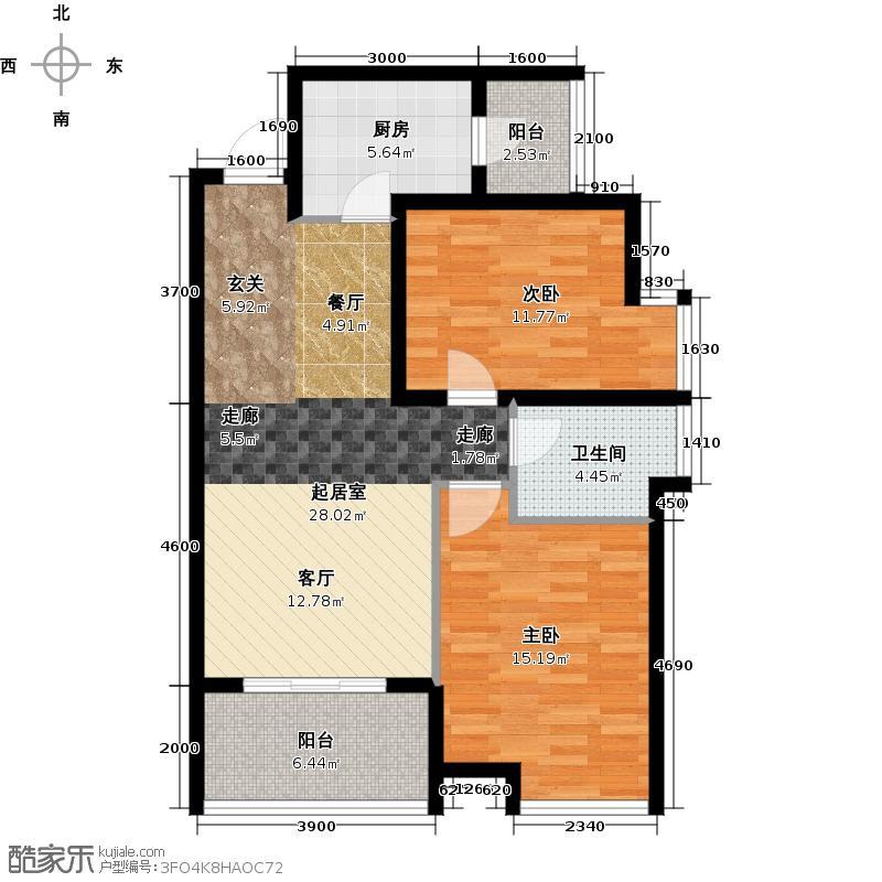 银鑫莲花半岛84.44㎡4号楼6号房户型2室1卫1厨