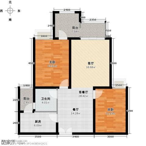 约克郡汀兰2室1厅1卫1厨93.00㎡户型图
