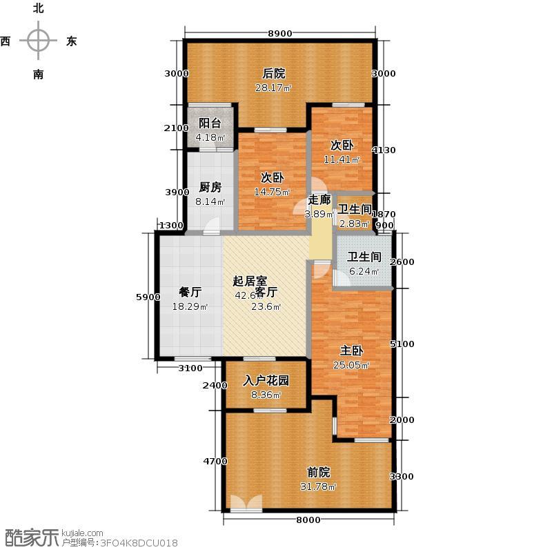 泽科港城国际141.21㎡户型3室2卫1厨