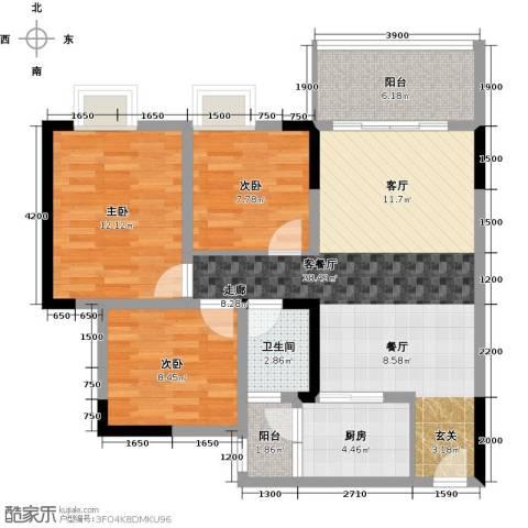 东朝香堤花径3室1厅1卫1厨78.00㎡户型图
