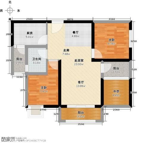 北城阳光尚线2室0厅1卫1厨90.00㎡户型图