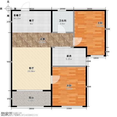 汇君城2室1厅1卫1厨88.00㎡户型图