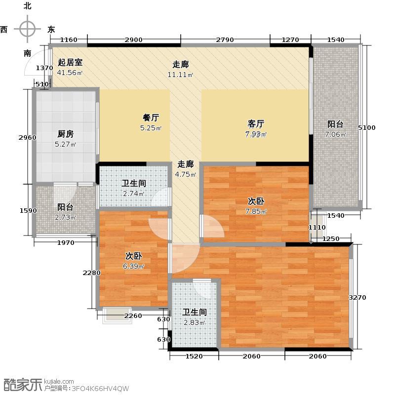 碧桂园豪庭83.03㎡J75型4栋57911131517层06单位户型2室2卫1厨