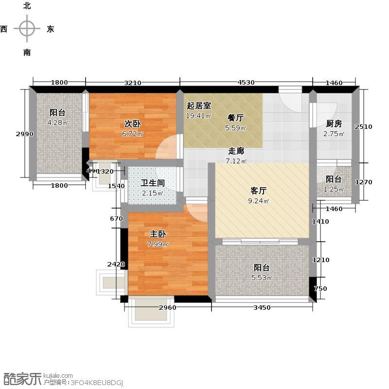 渝能幸福成双60.00㎡S8-117栋2-21层G2号房户型2室1卫1厨