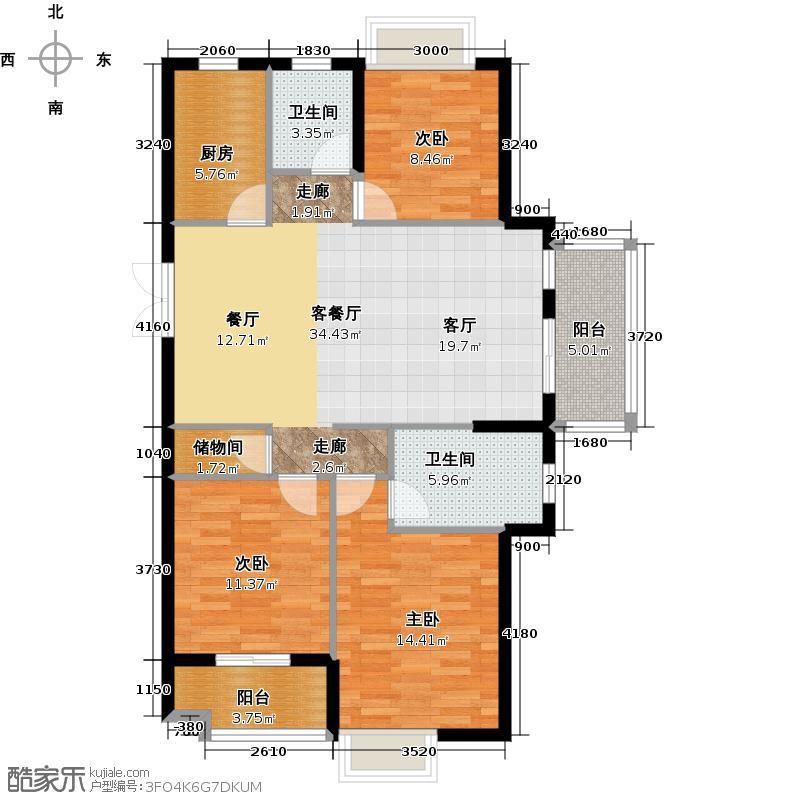 联合格里106.05㎡户型3室1厅2卫1厨