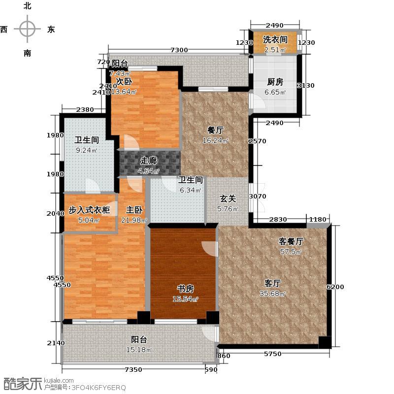 昆仑公馆180.00㎡1#楼标准层边套户型10室