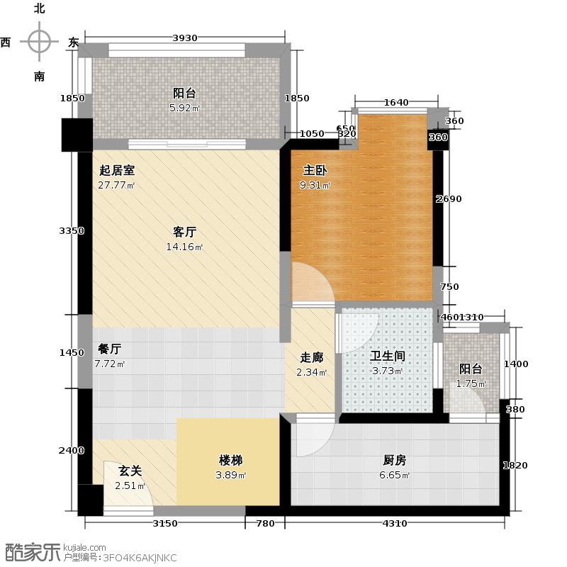 中铁西城121.97㎡1期1批次7、10栋E2下层户型1室1卫1厨