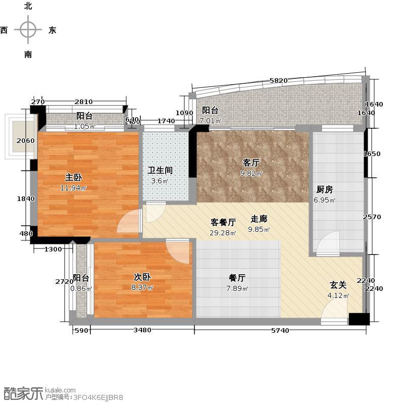 庄士映蝶蓝湾78.00㎡G栋05单元户型2室1厅1卫1厨
