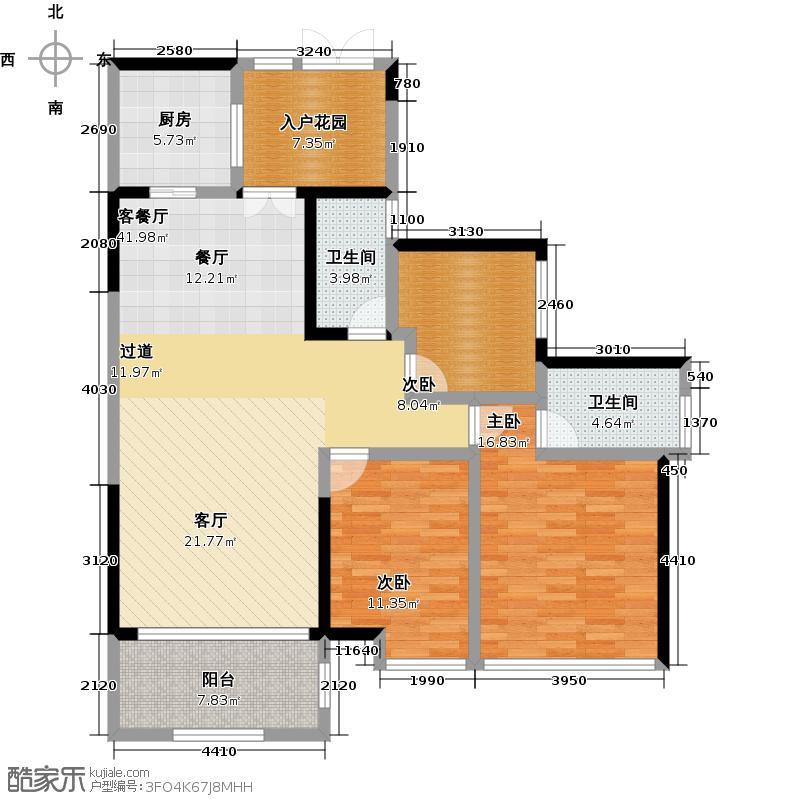 东湖映月123.17㎡高层洋房E栋13/15号02单元户型3室1厅2卫1厨