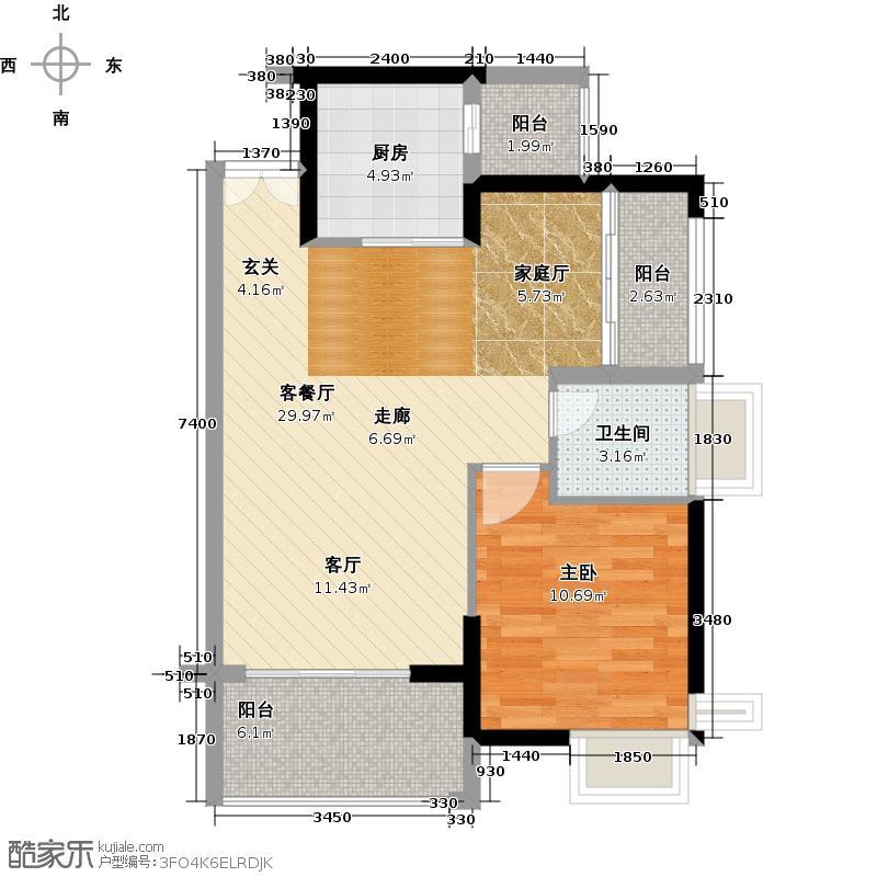中堂东港城7号76.61㎡1栋1单元03/2单元02户型1室1厅1卫1厨