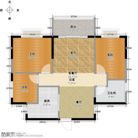 花香十二院3室1厅1卫1厨88.00㎡户型图