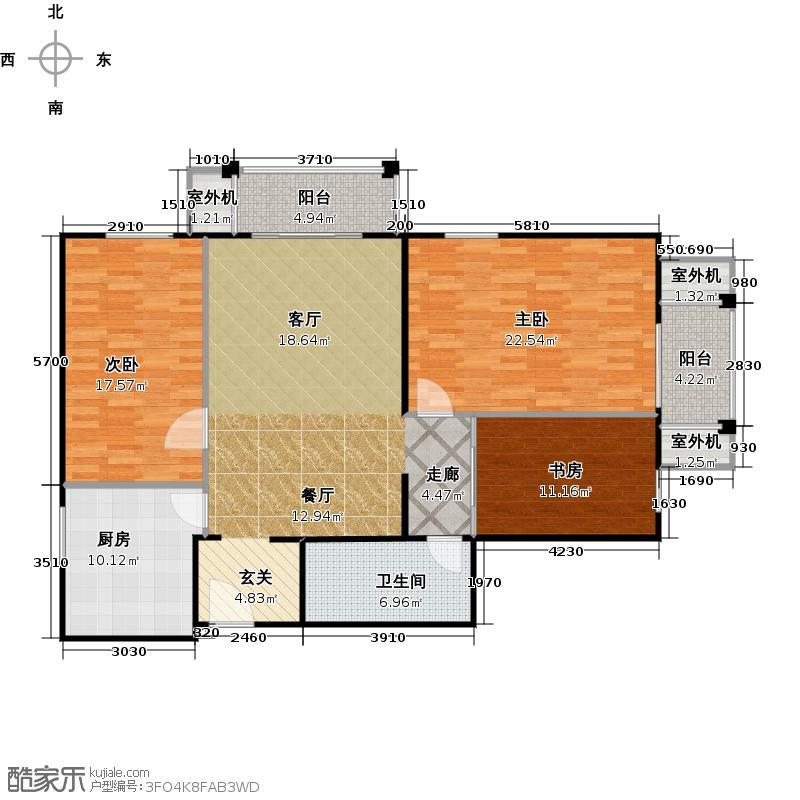 永翌公馆129.00㎡11号楼06户型3室1厅1卫1厨