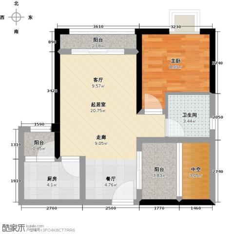北城阳光尚线1室0厅1卫1厨71.00㎡户型图