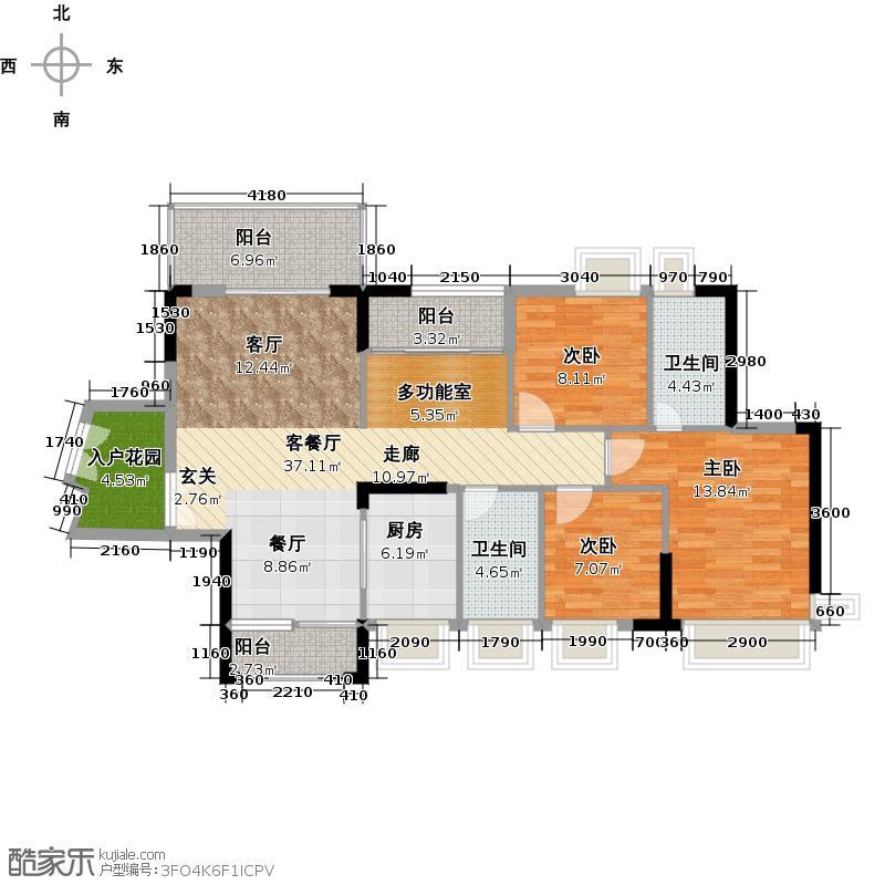 中堂东港城7号121.14㎡2栋1单元04/2单元01户型3室1厅2卫1厨