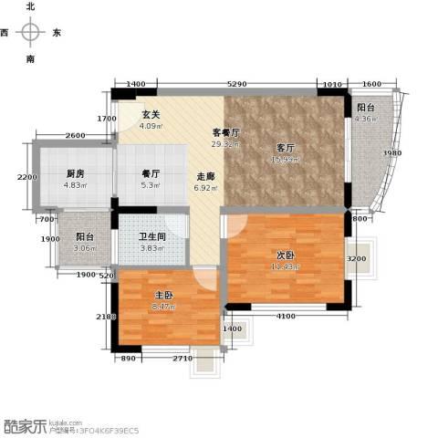 恒盈豪庭2室1厅1卫1厨93.00㎡户型图