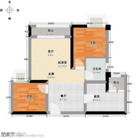 北城阳光尚线2室0厅1卫1厨73.00㎡户型图