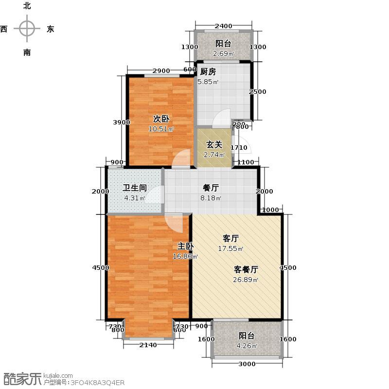 鸿坤・理想城98.00㎡4号楼Aa户型2室1厅1卫1厨