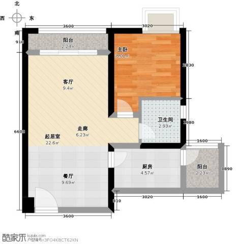 北城阳光尚线1室0厅1卫1厨63.00㎡户型图